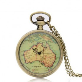 Unbranded, Vintage Bronze Australia Continent Quartz Pocket Watch ZN005, Watch actions, ZN005