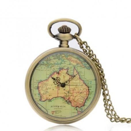 NedRo, Vintage Bronze Australia Continent Quartz Pocket Watch ZN005, Quartz, ZN005, EtronixCenter.com