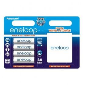Eneloop, 4x AA R6 Panasonic eneloop Rechargable Battery + Case, Size AA, ON1313