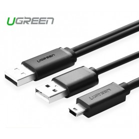 UGREEN, USB 2.0 A male ×2 to Mini 5pin Male Cable, USB to Mini USB cables, UG080-CB, EtronixCenter.com