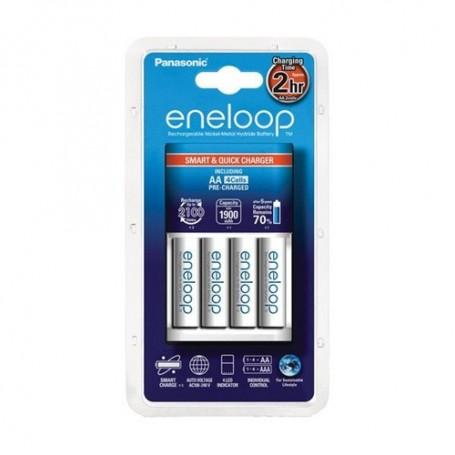 Panasonic - 1.5h Panasonic BQ-CC55E Quick Charger +4AA batteries EU plug - Battery chargers - NK007