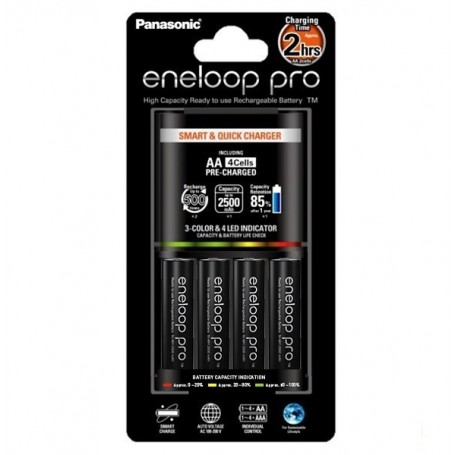 Panasonic - 2h Eneloop PRO BQ-CC55E Charger + 4AA batteries EU-Plug - Battery chargers - NK008
