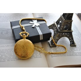 Unbranded, Square 3D Pattern Quartz Pocket Watch Golden, Watch actions, ZN052