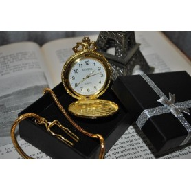 Unbranded - Square 3D Pattern Quartz Pocket Watch Golden - Watch actions - ZN052 www.NedRo.us