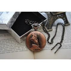Horses / Riders Red Copper Quartz Pocket Watch