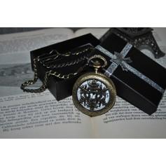 Ice Hollow Vintage Bronze Quartz Pocket Watch