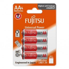 Fujitsu - 4-Pack Fujitsu Universal Power Alkaline LR6 AA - Size AA - BL221
