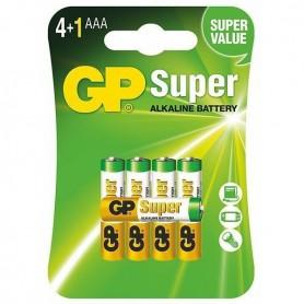 GP - 4+1 GP Super Alkaline AAA LR03/1.5V Battery - Size AAA - BL189-CB