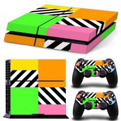 OTB sticker set compatible with Playstation 4 / PS4 - White tiles