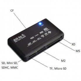 NedRo - Memory Card Reader USB External SD SDHC Mini Micro M2 MMC XD CF - SD and USB Memory - AL644