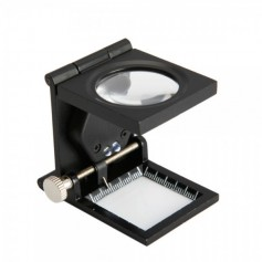 24mm Fold Texture Magnifier 10X Zoom Glass with LED and Scale