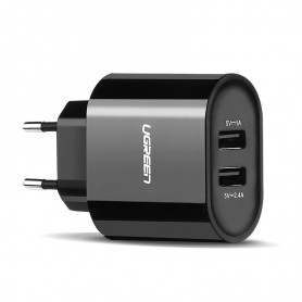 UGREEN, 2.4A / 1A 17W 5V USB Dual Wall Charger EU Plug Black UG153, Ac charger, UG153