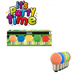 Calex, 5 colours 1W E27 Party LED Ball-lamp 240V 12LM CA056, E27 LED, CA056, EtronixCenter.com