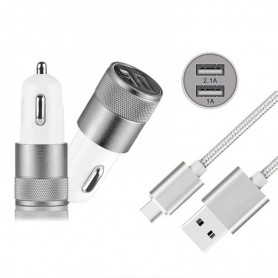NedRo - Duo 2.1A / 1A Car Charger Adapter + USB Type C Cable Set - Auto charger - AL603-CB