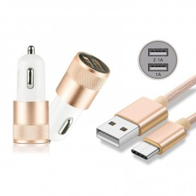 NedRo, Duo 2.1A / 1A Car Charger Adapter + USB Type C Cable Set, Auto charger, AL603-CB, EtronixCenter.com