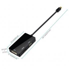 NedRo, 3in1 Mini DP Male to DVI, HDMI and VGA Female, DVI and DisplayPort adapters, AL005-CB