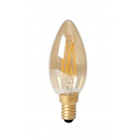 Calex - Calex LED Full Glass Filament Candle-lamp 240V 3,5W 200lm E14 B35, Gold 2100K CRI80 Dimmable - Vintage Antique - CA02...
