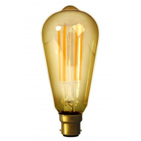 Calex - B22 LED LongFilament Rustik Lamp 240V 4W 320lm ST64, Gold 2100K Dimmable - Vintage Antique - CA0246 www.NedRo.us
