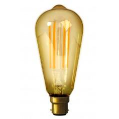 Calex - B22 LED LongFilament Rustik Lamp 240V 4W 320lm ST64, Gold 2100K Dimmable - Vintage Antique - CA0246