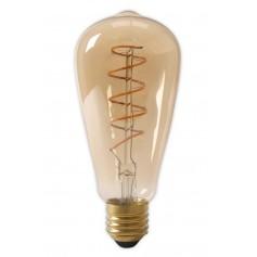 Calex - Calex LED Full Glass Flex Filament Rustik Lamp 240V 4W 200lm E27 ST64, Gold 2100K Dimmable - Vintage Antique - CA0251-CB