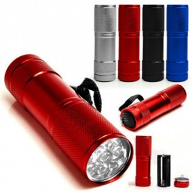 Mini 9 LED Aluminium UV Ultra Violet Flashlight purple light