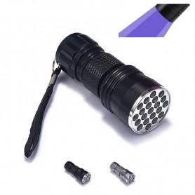 NedRo, Mini 21 LED UV Flashlight Violet Purple AAA LED Light, Flashlights, LFT82-CB, EtronixCenter.com
