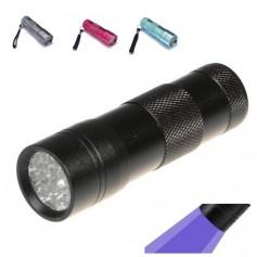 Mini 12 LED Aluminium UV Ultra Violet Flashlight purple light