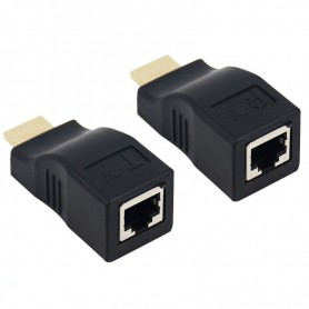 NedRo - 1 Set 30m HDMI / RJ45 extender repeater booster TX/RX 3D Full HD1080P - HDMI adapters - AL163