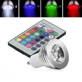 unbranded, GU10 3W 16 Color Dimmable LED Bulb with Remote Control, GU10 LED, AL164