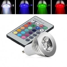 GU10 3W 16 Color Dimmable LED Bulb with Remote Control