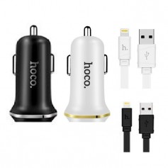 HOCO - Duo 2.1A USB car charger with iPhone Lightning cable - Auto charger - H60420-CB