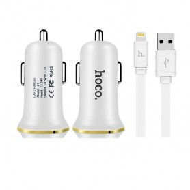 HOCO, Duo 2.1A USB car charger with iPhone Lightning cable, Auto charger, H60420-CB, EtronixCenter.com