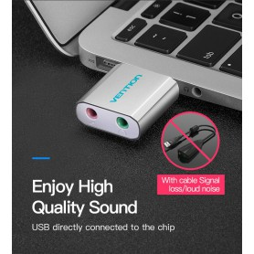 Vention - USB External Sound Card to 3.5mm Audio Aux Mic Adapter - Audio adapters - V013-CB www.NedRo.us