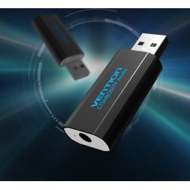 Vention - 3D USB External Sound Card to 3.5mm Audio Aux Mic Adapter - Audio adapters - V014-CB www.NedRo.us