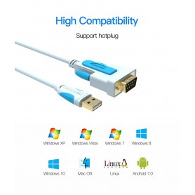 Vention, USB 2.0 to DB9 RS232 Cable Serial Cable USB COM Port DB9 Pin Cable Adapter, RS 232 RS232 adapters, V023-CB, EtronixC...