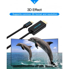 Vention, USB Type-C 3.1 to HDMI 4K 3D 1.8 Meter, USB to USB C cables, V024, EtronixCenter.com