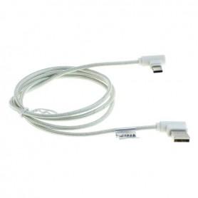 OTB - 1m USB TYPE C (USB-C) to USB data cable nylon sheathed 90 degree plug - USB to USB C cables - ON5021-CB www.NedRo.us