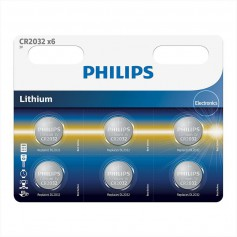 6-Pack Philips CR2032 lithium button cell battery