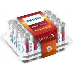 PHILIPS - 24-Pack - AA R3 Philips Power Alkaline - Size AA - BS016-CB