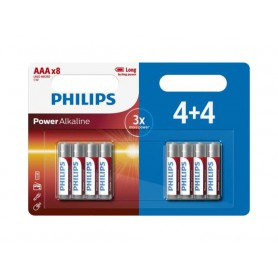PHILIPS, 4+4 Pack Pack - AAA R3 Philips Power Alkaline, Size AAA, BS018-CB