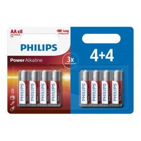 PHILIPS, 4+4 Pack - AA R3 Philips Power Alkaline, Size AA, BS019-CB
