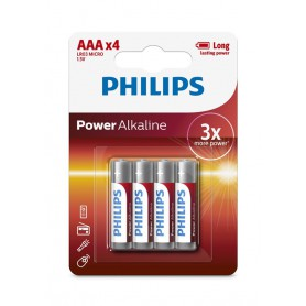 PHILIPS, 4-Pack - AAA R3 Philips Power Alkaline, Size AAA, BS032-CB