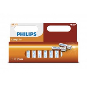 PHILIPS - 12-Pack - AA R3 Philips Longlife Zinc Alkaline - Size AA - BS034-CB