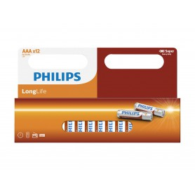 PHILIPS, 12-Pack - AAA R3 Philips LongLife Zinc Alkaline, Size AAA, BS035-CB