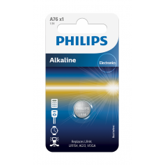 Philips LR44/76A 1.5v Alkaline button cell battery