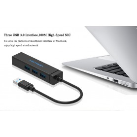 Vention - USB 3.0 HUB 5Gbps, Ethernet LAN Adapter up to 10/100/1000 Mbps - Network adapters - V033 www.NedRo.us