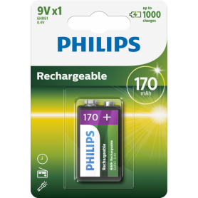 PHILIPS, Philips MultiLife 9V HR22 / 6HR61 170mAh rechargeable battery, Other formats, BS049-CB, EtronixCenter.com