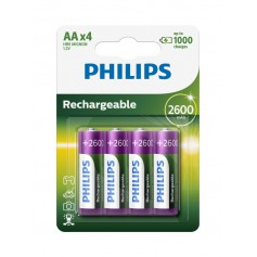Philips MultiLife 1.2V AA/HR6 2600mah NiMh rechargeable battery - 4-Pack