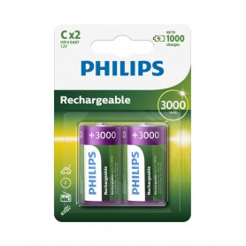 PHILIPS, Philips MultiLife 1.2V C/HR14 3000mah NiMh rechargeable battery, Size C D and XL, BS052-CB