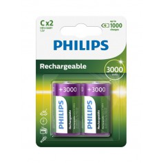 PHILIPS - Philips MultiLife 1.2V C/HR14 3000mah NiMh rechargeable battery - Size C D and XL - BS052-CB
